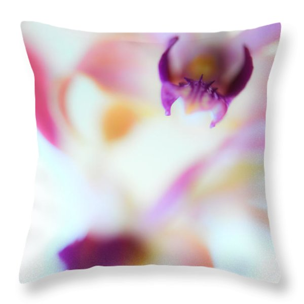 Soft Seduction. Orchids Throw Pillow by Jenny Rainbow