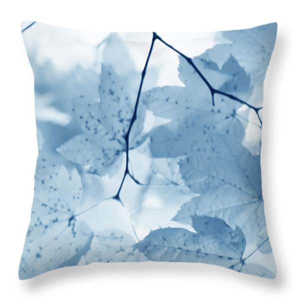 Softness of Blue Leaves Throw Pillow by Jennie Marie Schell