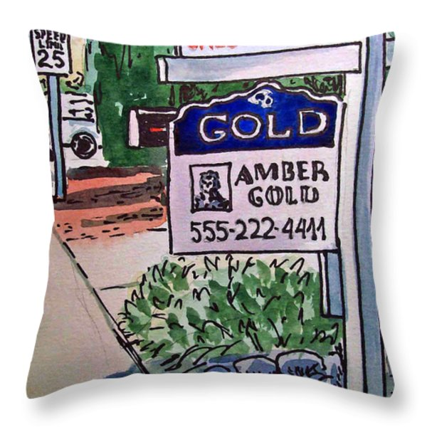 Sold Sketchbook Project Down My Street Throw Pillow by Irina Sztukowski