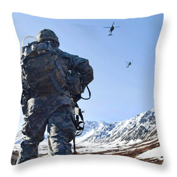 Soldier Patrols Through Alaska's Throw Pillow by Stocktrek Images