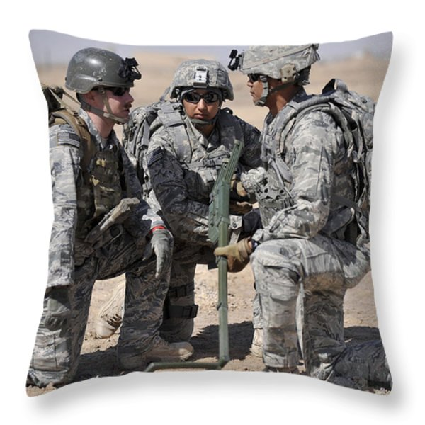 Soldiers Discuss A Strategic Plane Throw Pillow by Stocktrek Images