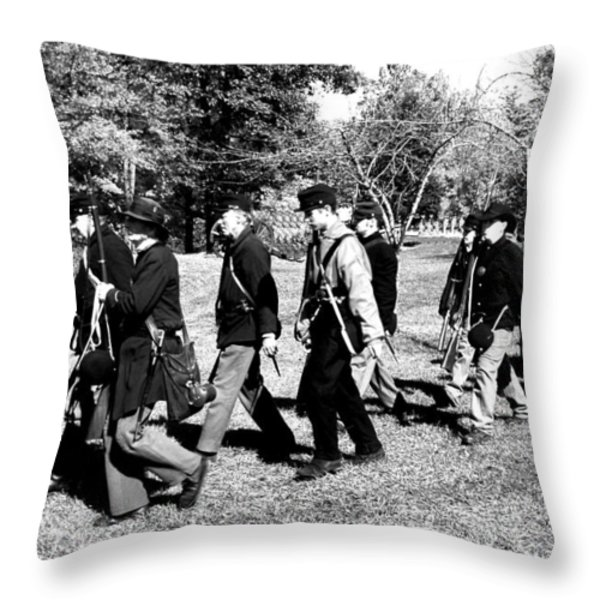 Soldiers March Black and White II Throw Pillow by LeeAnn McLaneGoetz McLaneGoetzStudioLLCcom