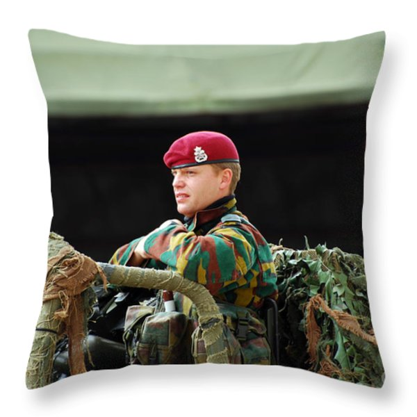 Soldiers Of A Belgian Recce Or Scout Throw Pillow by Luc De Jaeger