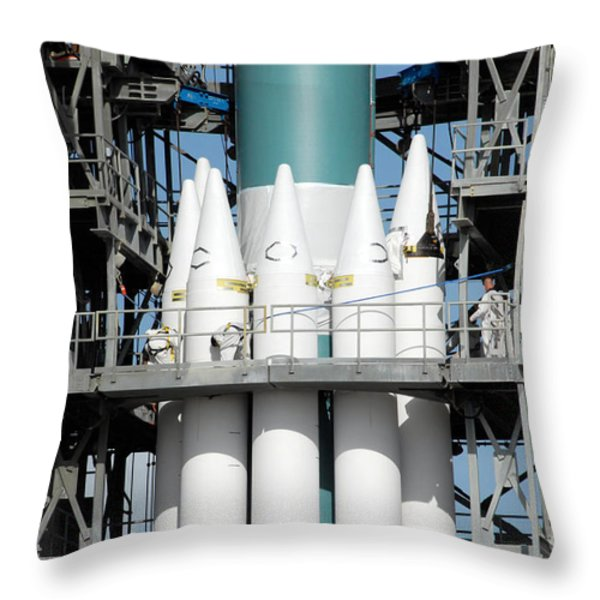 Solid Rocket Boosters Are Attached Throw Pillow by Stocktrek Images