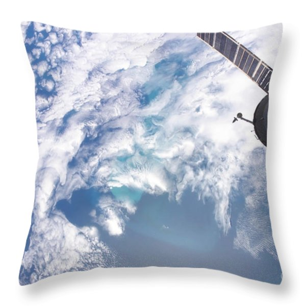 South Atlantic Plankton Bloom Throw Pillow by Stocktrek Images