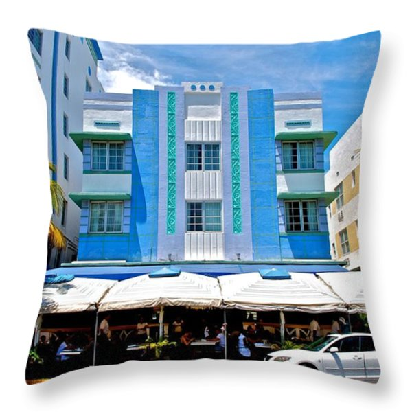 South Beach The Blue Section Throw Pillow by Eric Tressler