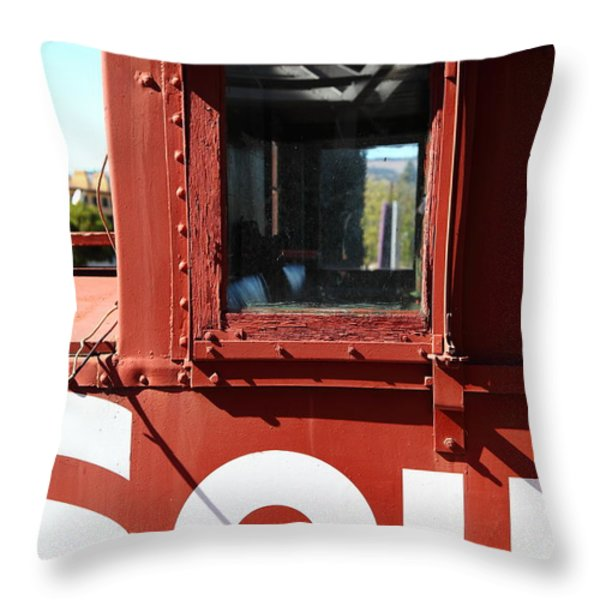 Southern Pacific Caboose - 5D19235 Throw Pillow by Wingsdomain Art and Photography