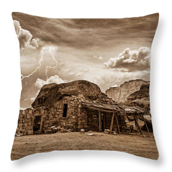Southwest Indian Rock House and Lightning Striking Throw Pillow by James BO  Insogna