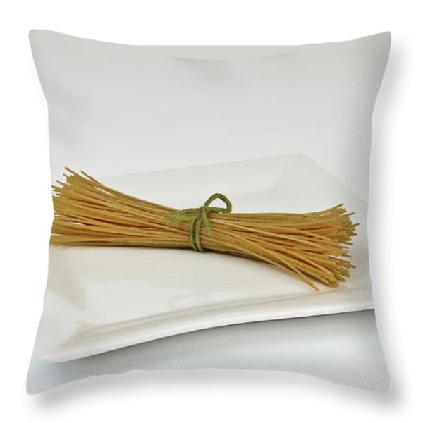 Soybean Spaghetti Throw Pillow by Photo Researchers