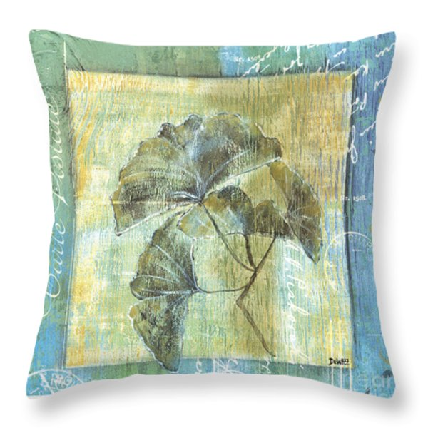 Spa Gingko Postcard  2 Throw Pillow by Debbie DeWitt