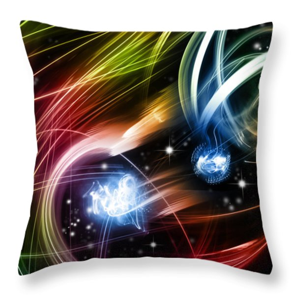 Space Throw Pillow by Les Cunliffe