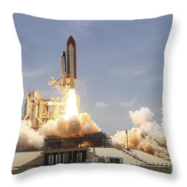Space Shuttle Atlantis Lifting Throw Pillow by Stocktrek Images