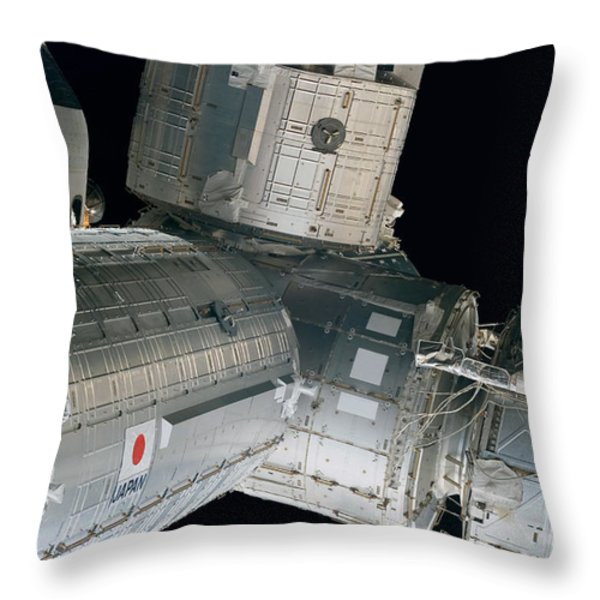 Space Shuttle Discovery And Components Throw Pillow by Stocktrek Images