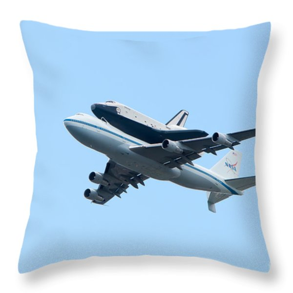Space Shuttle Enterprise Arrives in New York City Throw Pillow by Clarence Holmes
