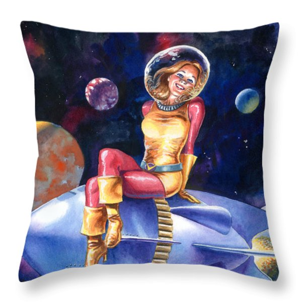 Spacegirl Throw Pillow by Ken Meyer jr