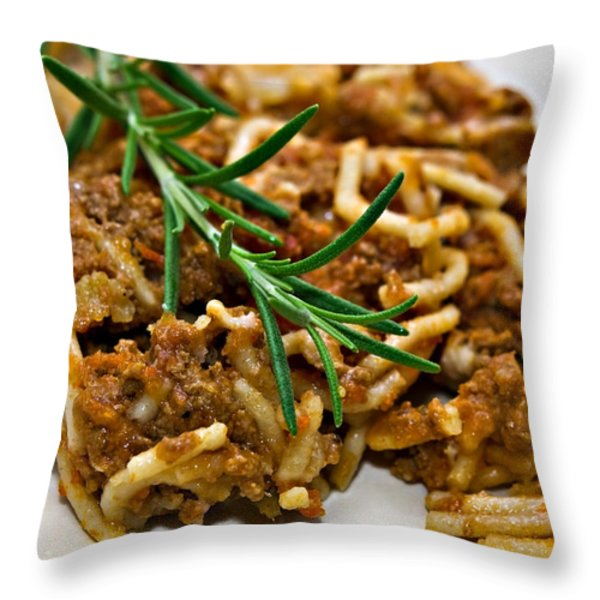 Spaghetti with Sauce Throw Pillow by Susan Leggett