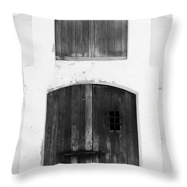 Spanish Fort Door Castillo San Felipe Del Morro San Juan Puerto Rico Prints Black and White Throw Pillow by Shawn O'Brien