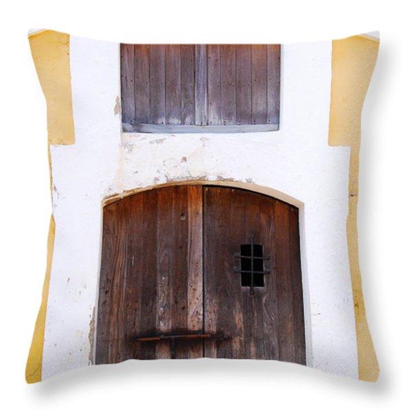 Spanish Fort Door Castillo San Felipe Del Morro San Juan Puerto Rico Prints Throw Pillow by Shawn O'Brien