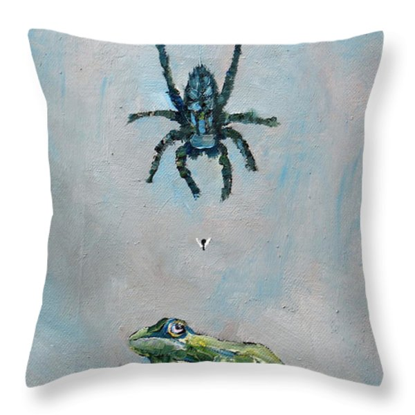 SPIDER FLY and TOAD Throw Pillow by Fabrizio Cassetta
