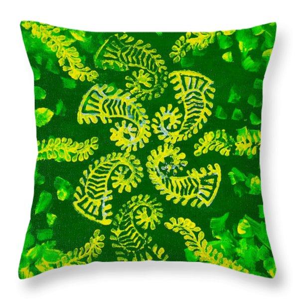 Spinning Greens Throw Pillow by Farah Faizal