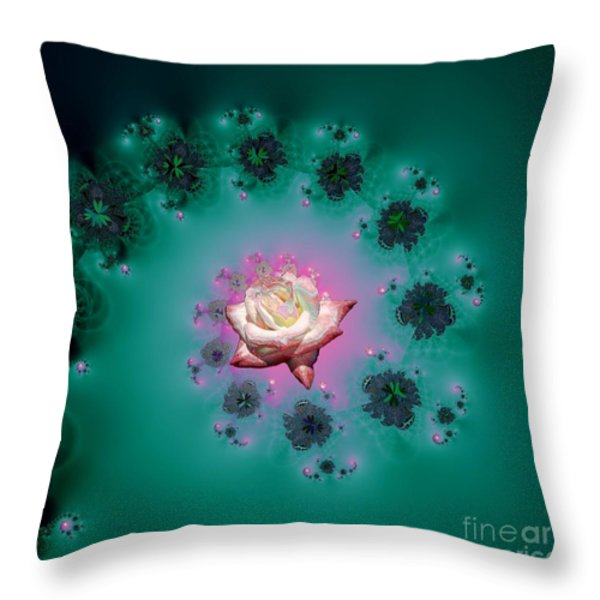 Spiral To A Rose Fractal 140 Throw Pillow by Rose Santuci-Sofranko