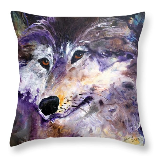 Spirit Wolf Throw Pillow by Sherry Shipley