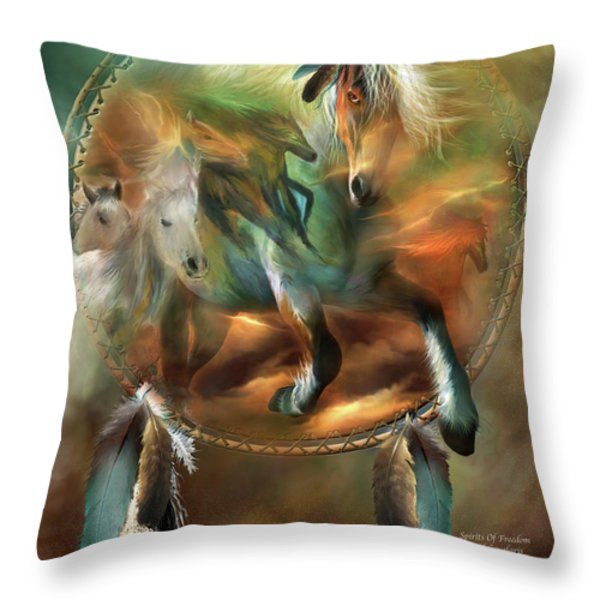 Spirits Of Freedom Throw Pillow by Carol Cavalaris