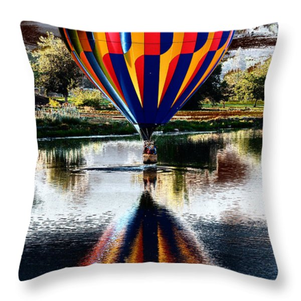 Splash And Dash With A Hot Air Balloon Throw Pillow by David Patterson