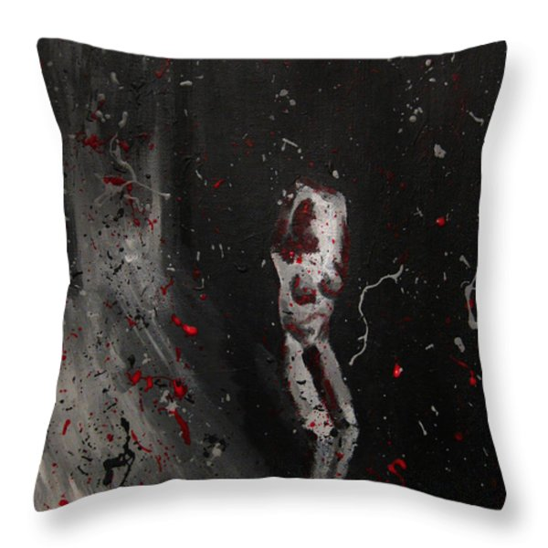 Splattered Nude Young Female In Gritty City Alley In Black And White And Red Throw Pillow by M Zimmerman