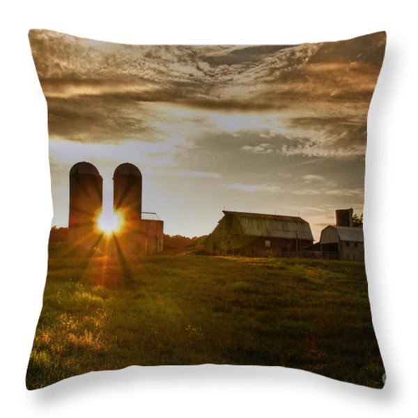 Split Silo Sunset Throw Pillow by Benanne Stiens