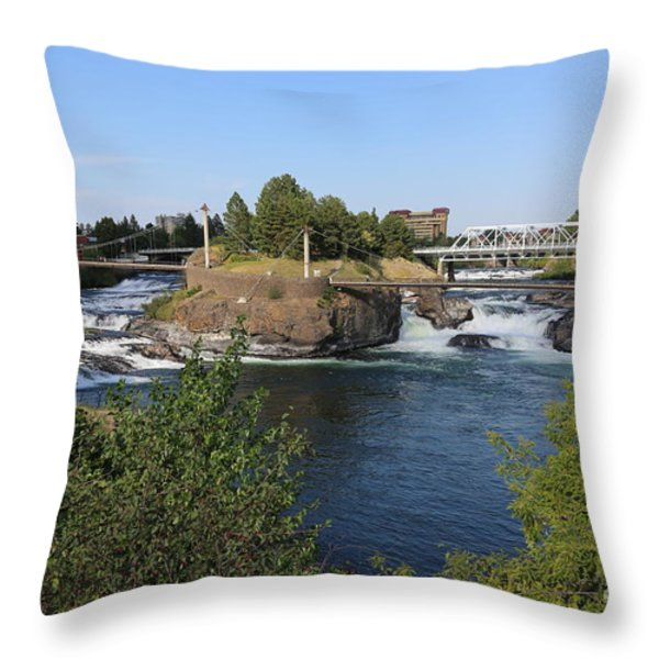 Spokane Falls HDR Throw Pillow by Carol Groenen
