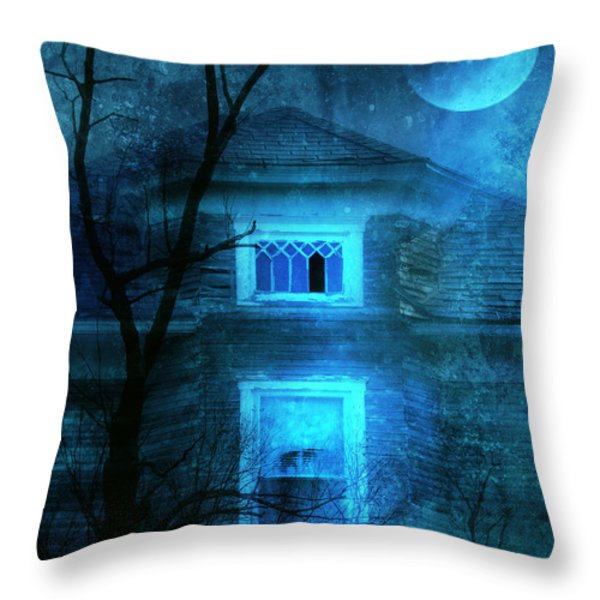 Spooky House with Moon Throw Pillow by Jill Battaglia