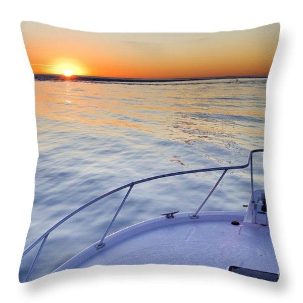 Sportfish Sunrise On The Atlantic Throw Pillow by Dustin K Ryan