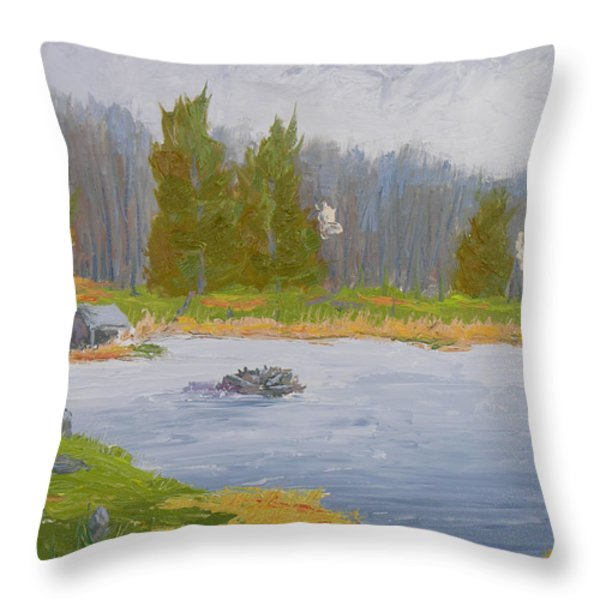 Spring Blossoms Beaver Pond Throw Pillow by Robert P Hedden