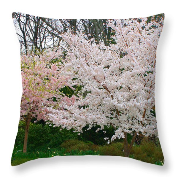 Spring Flowering Trees Throw Pillow by Anahi DeCanio