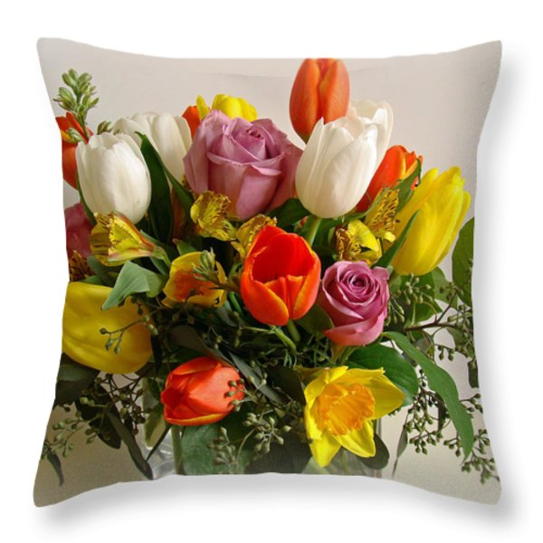 Spring Flowers Throw Pillow by Sandy Keeton