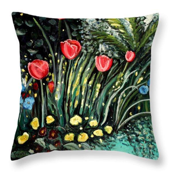 Spring Garden Throw Pillow by Elizabeth Robinette Tyndall