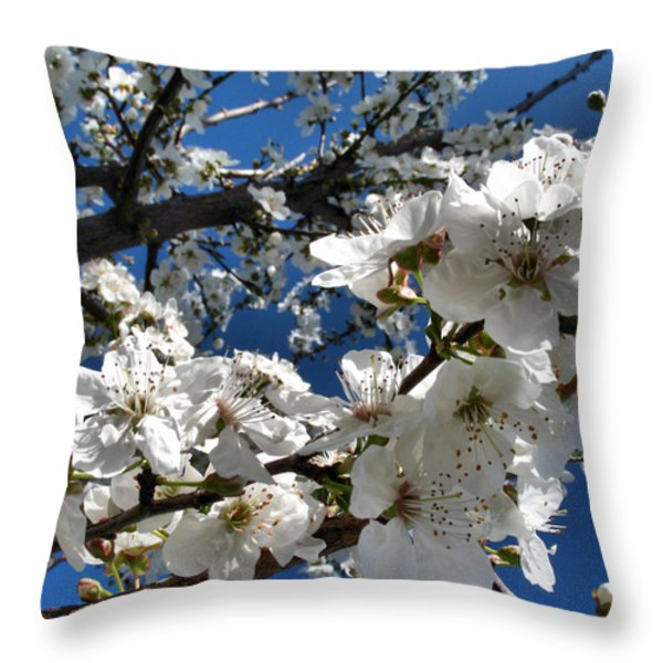 Spring Pear Blossoms 2012 Throw Pillow by Joyce Dickens