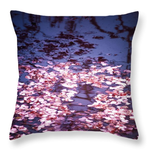Spring's Embers - Cherry Blossom Petals on the Surface of a Pond Throw Pillow by Vivienne Gucwa