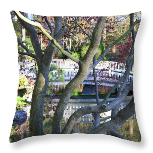 Springtime Bridge Through Japanese Maple Tree Throw Pillow by Carol Groenen