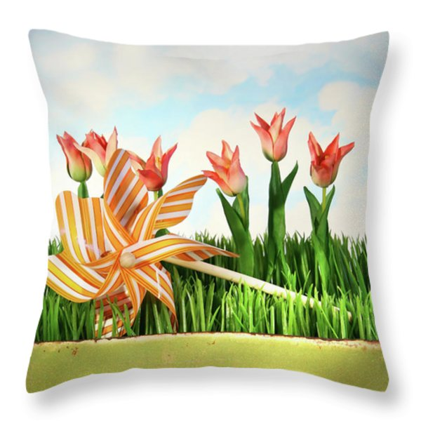 Springtime fun Throw Pillow by Sandra Cunningham