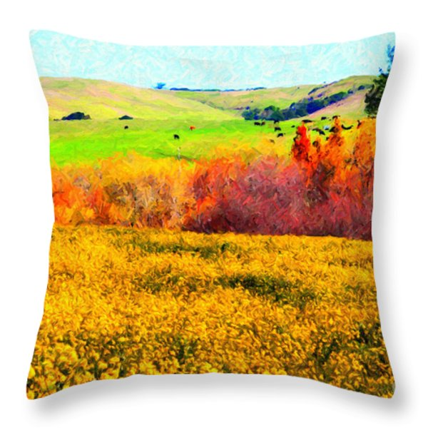 Springtime In The Golden Hills . 7D12402 Throw Pillow by Wingsdomain Art and Photography