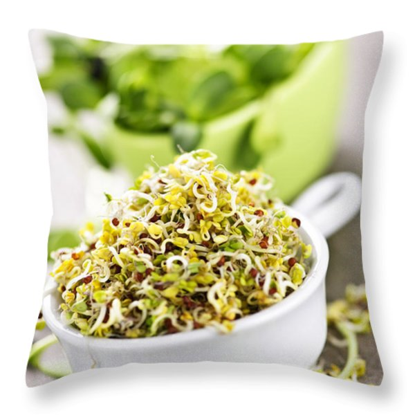 Sprouts in cups Throw Pillow by Elena Elisseeva