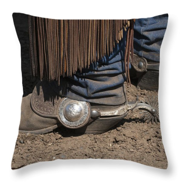 Spurs N' Rowels Throw Pillow by Sandra Bronstein