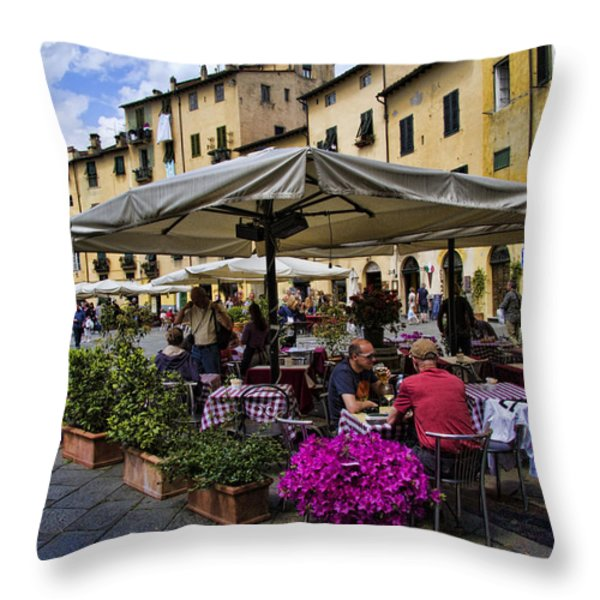 Square Amphitheater In Lucca Italy Throw Pillow by David Smith