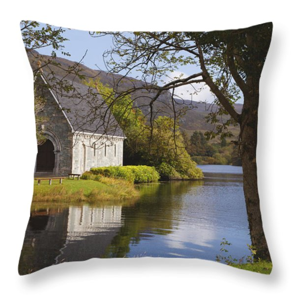 St. Finbarres Oratory On Shore Throw Pillow by Ken Welsh
