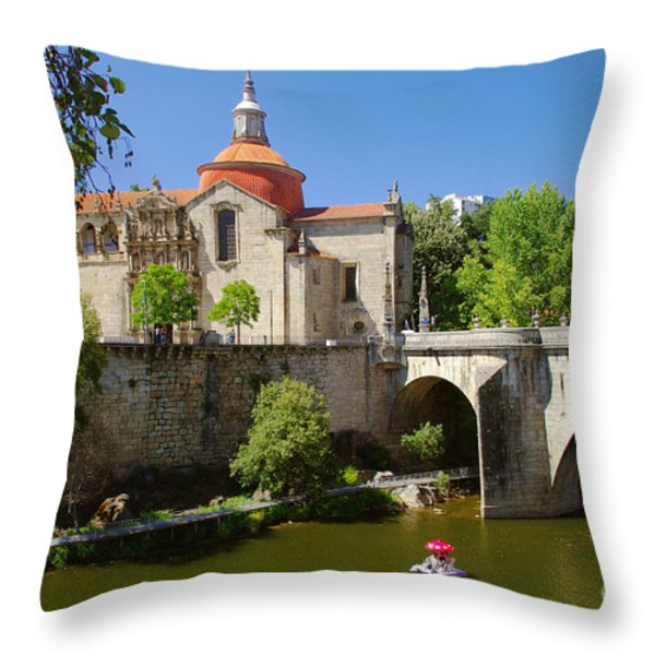 St Goncalo Cathedral Throw Pillow by Carlos Caetano