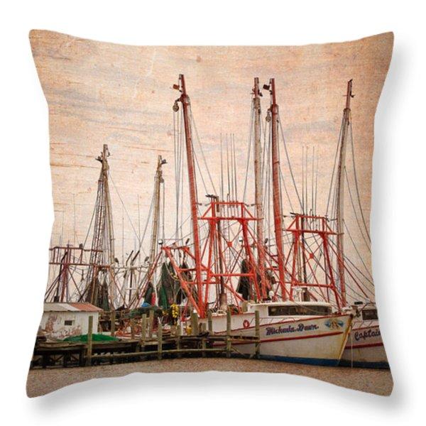 St John's Shrimping Throw Pillow by Debra and Dave Vanderlaan
