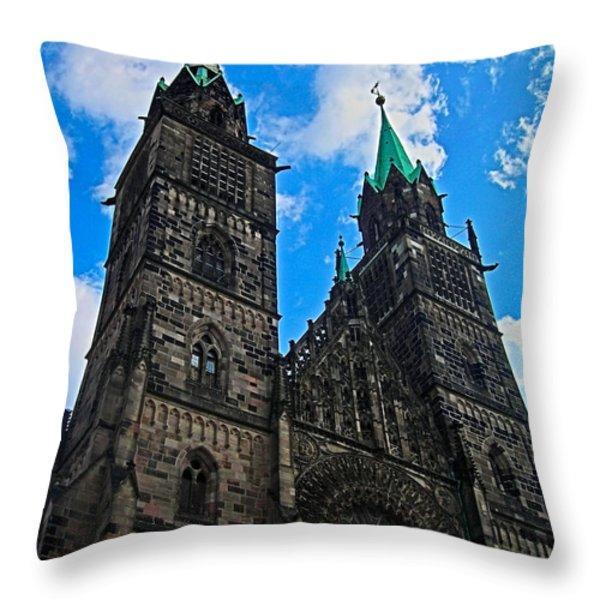 St. Lorenz Church - Nuremberg Throw Pillow by Juergen Weiss