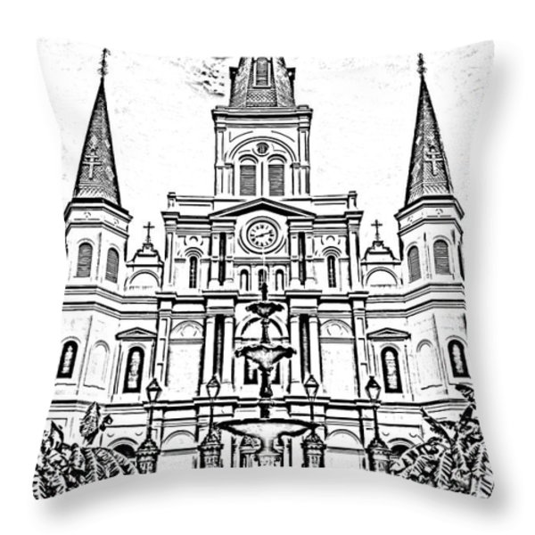 St Louis Cathedral And Fountain Jackson Square French Quarter New Orleans Photocopy Digital Art Throw Pillow by Shawn O'Brien